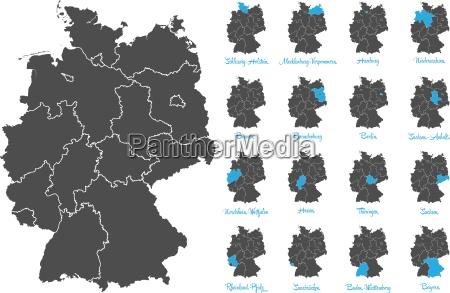 deutschland karte mit bundeslaendern vektor set