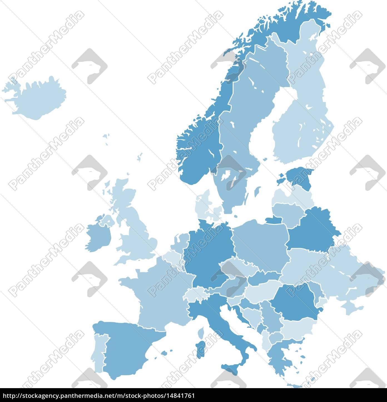 Karte Von Europa.Lizenzfreie Vektorgrafik 14841761 Europa Karte Vektor Grafik Blau