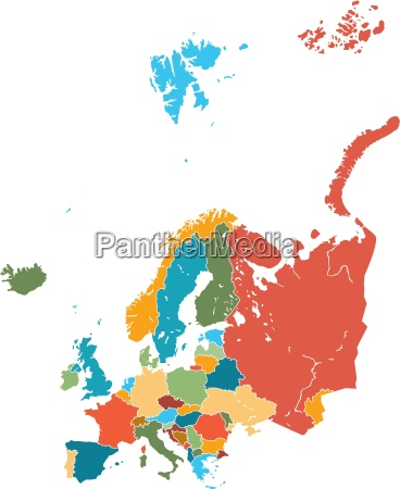 europe map stock vector colorful