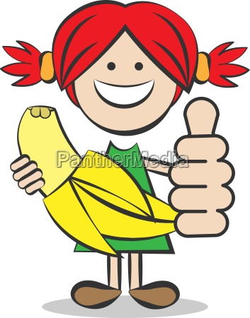 child with banana and thumbs up