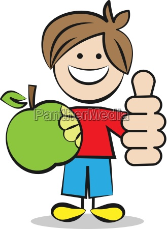 child with apple and thumbs up