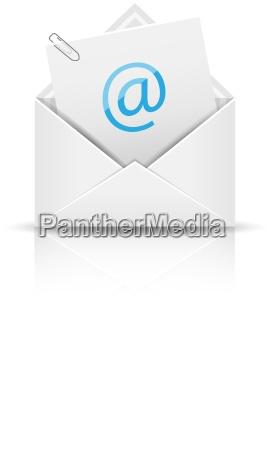 email icon med bilag konvolut med