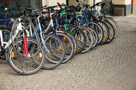 group of bikes in a parking