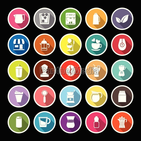 coffee and tea flat icons with