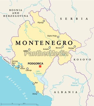 politische landkarte von montenegro