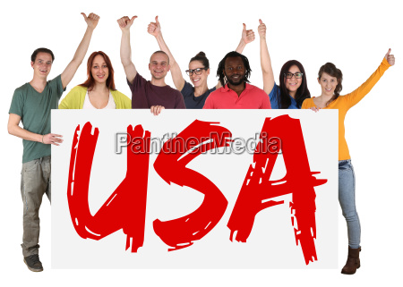 usa multicultural group of young people