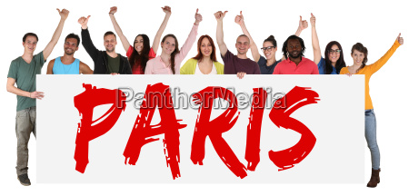 paris sign multicultural group laughing young