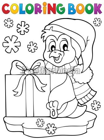 faerbung buch pinguin mit geschenk
