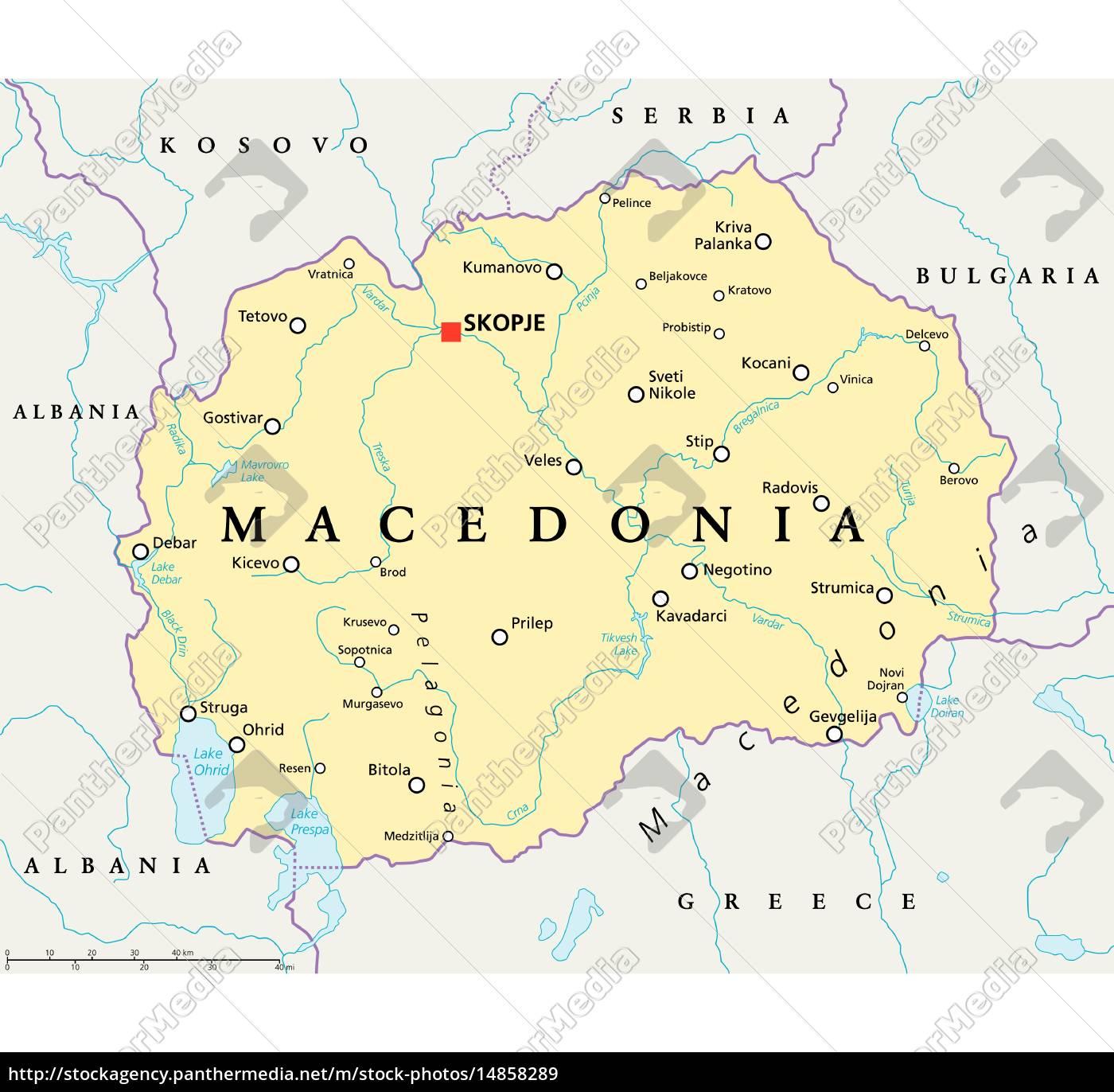 Mazedonien Karte.Lizenzfreie Vektorgrafik 14858289 Mazedonien Politische Karte