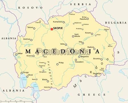 mazedonien politische karte