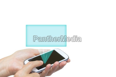 smart phone and transparent rectangle isolated