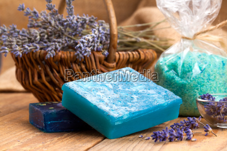 homemade soap with lavender flowers and