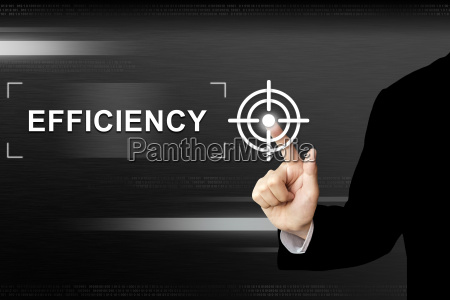 business hand pushing efficiency button on