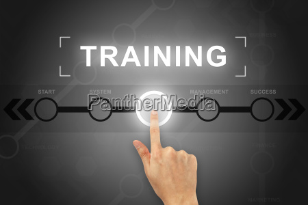 hand clicking training button on a