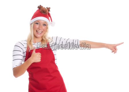 housewife with red apron showing thumbs