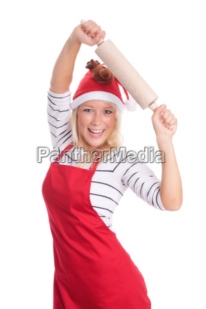 woman with santa hat and apron