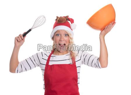 excited christmas woman in apron holding
