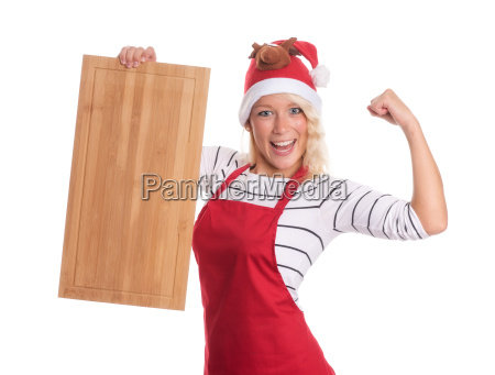 woman with santa hat holding a