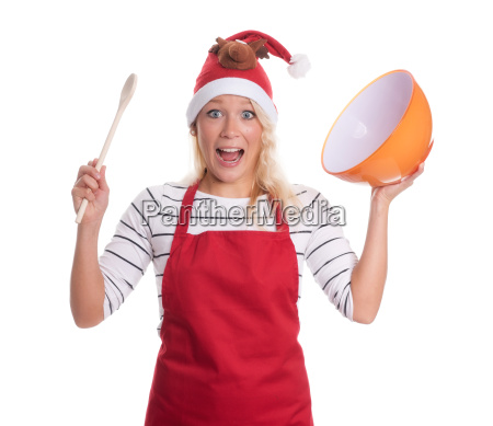 christmas woman with an apron holding