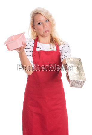 housewife in red apron showing various