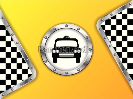 taxi advertising background with metallic badge