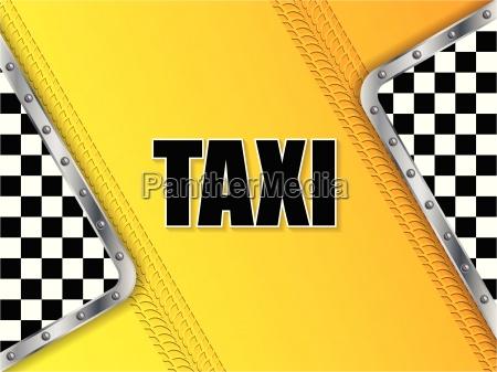 abstrakter taxiwerbungshintergrund mit reifenschritt und metallischen