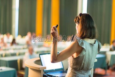 business woman making business presentation