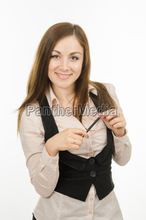 portrait of business girl with pen