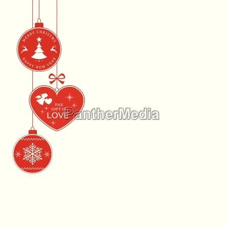 weihnachtsgrenze mit haengenden weihnachtsschmuck