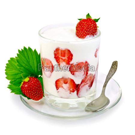 yogurt thick with strawberries in glass
