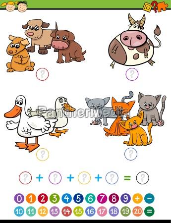 cartoon math task for children