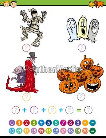 mathematic task cartoon illustration