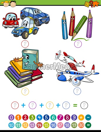 cartoon math task for kids