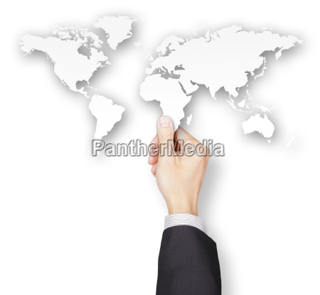 hand of businessman holding world map