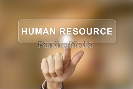business hand clicking human resource button