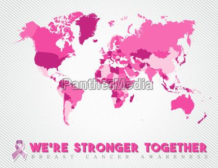 breast cancer worldwide map global pink