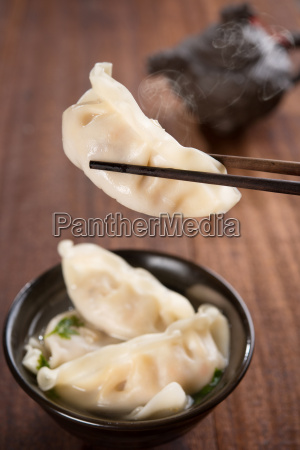 popular asian cuisine dumplings soup