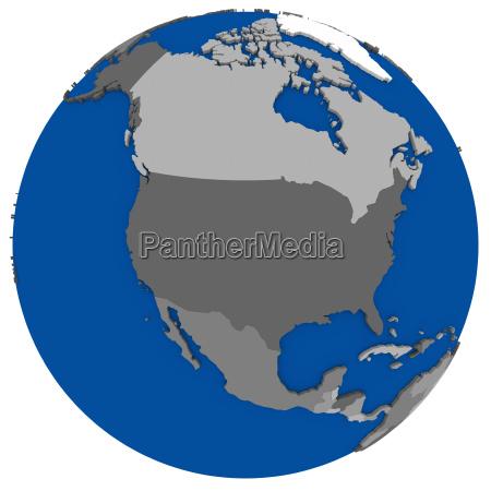 nordamerika auf der erde politische landkarte