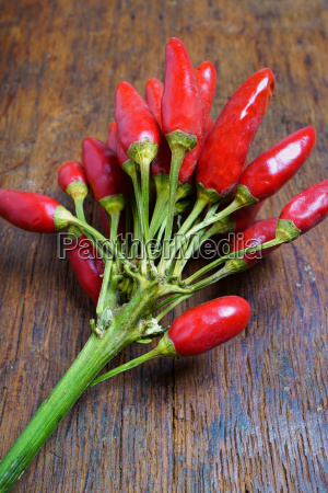 bunch of fresh chillies on rustic