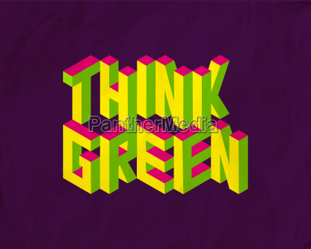 isometric think green quote background
