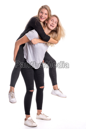2 sisters take themselves piggyback