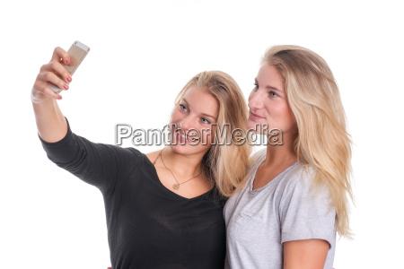2 blond girls making a selfie