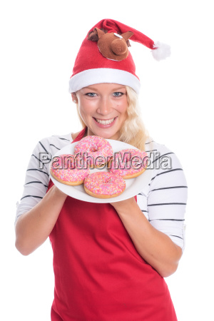 christmas woman with a plate of