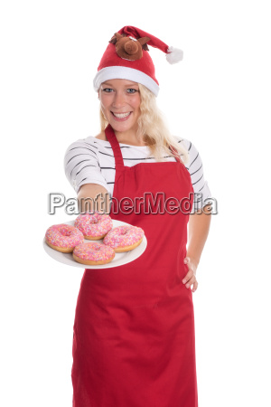 christmas woman offering a plate of