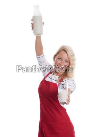 frau, milch, milchflasche, präsentieren, zeigen, präsentation - 14932969