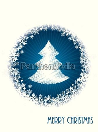 weisses weihnachtsgrusskarte mit platzen christmastree