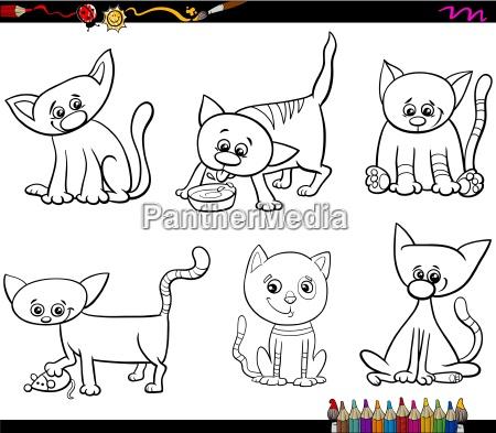 cats set cartoon coloring page