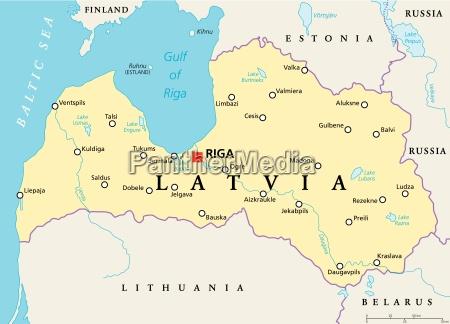 politische landkarte von lettland
