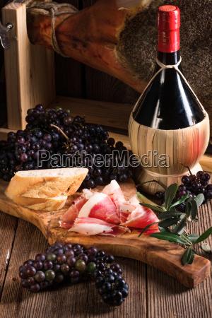 wine and prosciutto