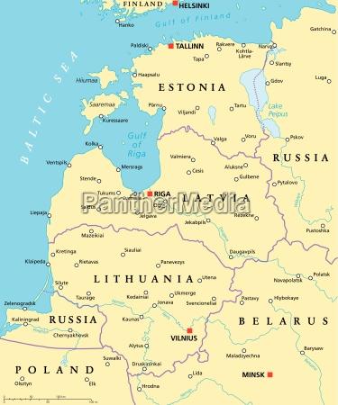 baltische laender politische karte